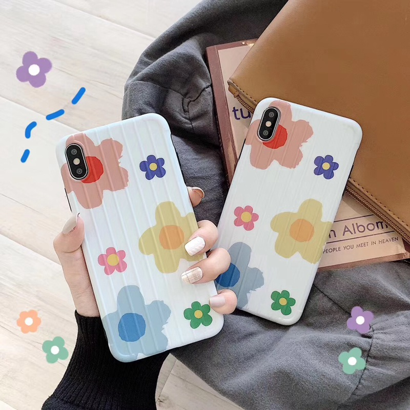New For Iphone 7 8 Plus XS Max XR 6 6s Plus Luggage Suitcase Phone Case Fashion Flowers Curved Surface Soft TPU Back Cover Coque