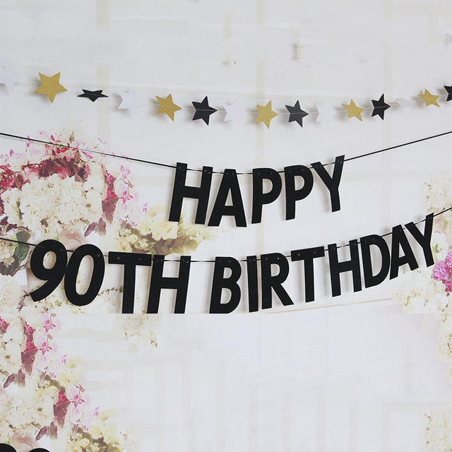 90TH 100TH BIRTHDAY Banner Birthday Party Decoration Glitter Paper Bunting Letter Hanging Adult Favors Supplies