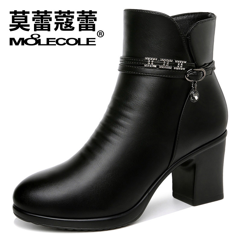 Moolecole 2018 New Winter Boots Women Female High Heel Boots Warm Women Snow Boots Women Shoes Woman Warm Fur Botas Mujer все цены