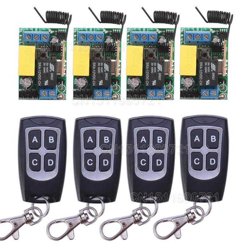 Free Shipping 4PCS 10A 1CH Relay Mini Receiver +4PCS Remote Controller; Input AC220V Wireless Switch With Superheterodyne RX 4 relay ch wireless receiver