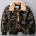 Volar cuello de piel chaqueta de vuelo de la fuerza aérea Avirex hombres chaqueta de cuero genuino negro marrón de piel de oveja abrigo de invierno bombardero chaqueta masculina