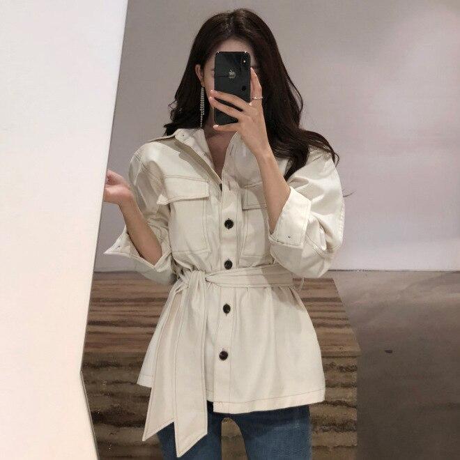 De Jc2847 2019 Unique Office Lady Blanc Costume Denim Manteau Veste Printemps Noir Femelle blanc Décontracté Coréennes Ceinture Vestes Automne Solide Femmes Noir r47xvHr