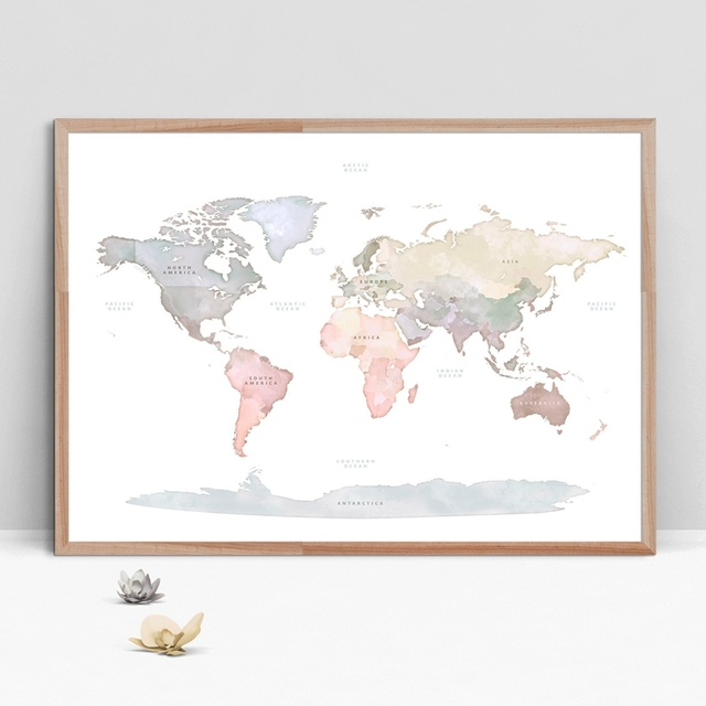 Watercolor World Map Poster Canvas Painting Wall Picture Modern ...