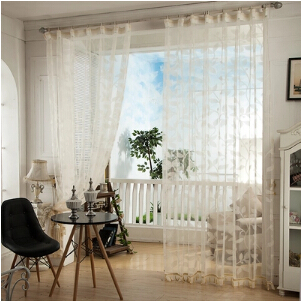 US $10.47 23% OFF|Rustic Living Room Voile Balcony Curtain Sheer Panels  Jacquard Tulle with Bottom Beads-in Curtains from Home & Garden on  AliExpress