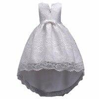 Белый Цвет Платье для девочек с цветочным узором летнее платье принцессы без рукавов Длинные со шлейфом платье для вечерние свадебные подр...