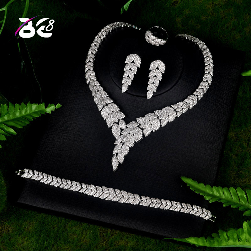Be 8 Fashion New Top Quality Wedding Jewelry Sets AAA CZ Leaf Design Bridal Earrings Necklace African Jewelry Set S069Be 8 Fashion New Top Quality Wedding Jewelry Sets AAA CZ Leaf Design Bridal Earrings Necklace African Jewelry Set S069