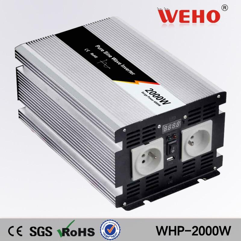(WHP-2000-122) 2000 w 12vdc à 220vac pur onduleur à onde sinusoïdale 200ah onduleur batteries avec chargeur intégré et écran d'affichage de LED