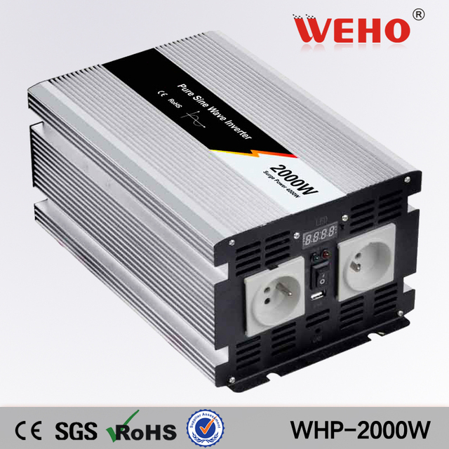 (WHP-2000-122)2000w 12vdc to 220vac pure sine wave inverter 200ah inverter batteries with inbuilt charger and LED display screen