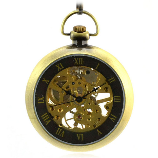 93330beb5a1 Steampunk Skeleton Bronze Vento Mão Mecânico Automático Homens Relógio de  Bolso Do Vintage Relógio de Bolso