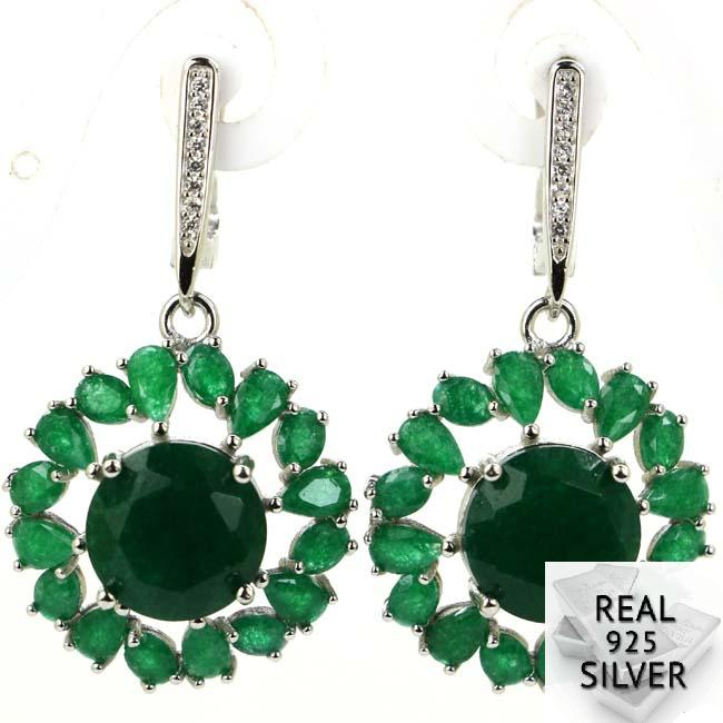 4.7g Real 925 Solid Sterling Ezüst Luxus Valódi Zöld Smaragd - Divatékszer