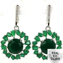 8.5g Real 925 Solid Sterling Silver Luxury Green Emerald SheType Womans Earrings 40x22mm