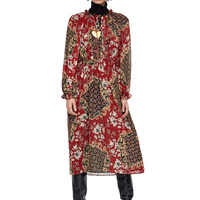 2019 women dress casual printing summer dress red womens clothing long sleeve dress lace up long dress
