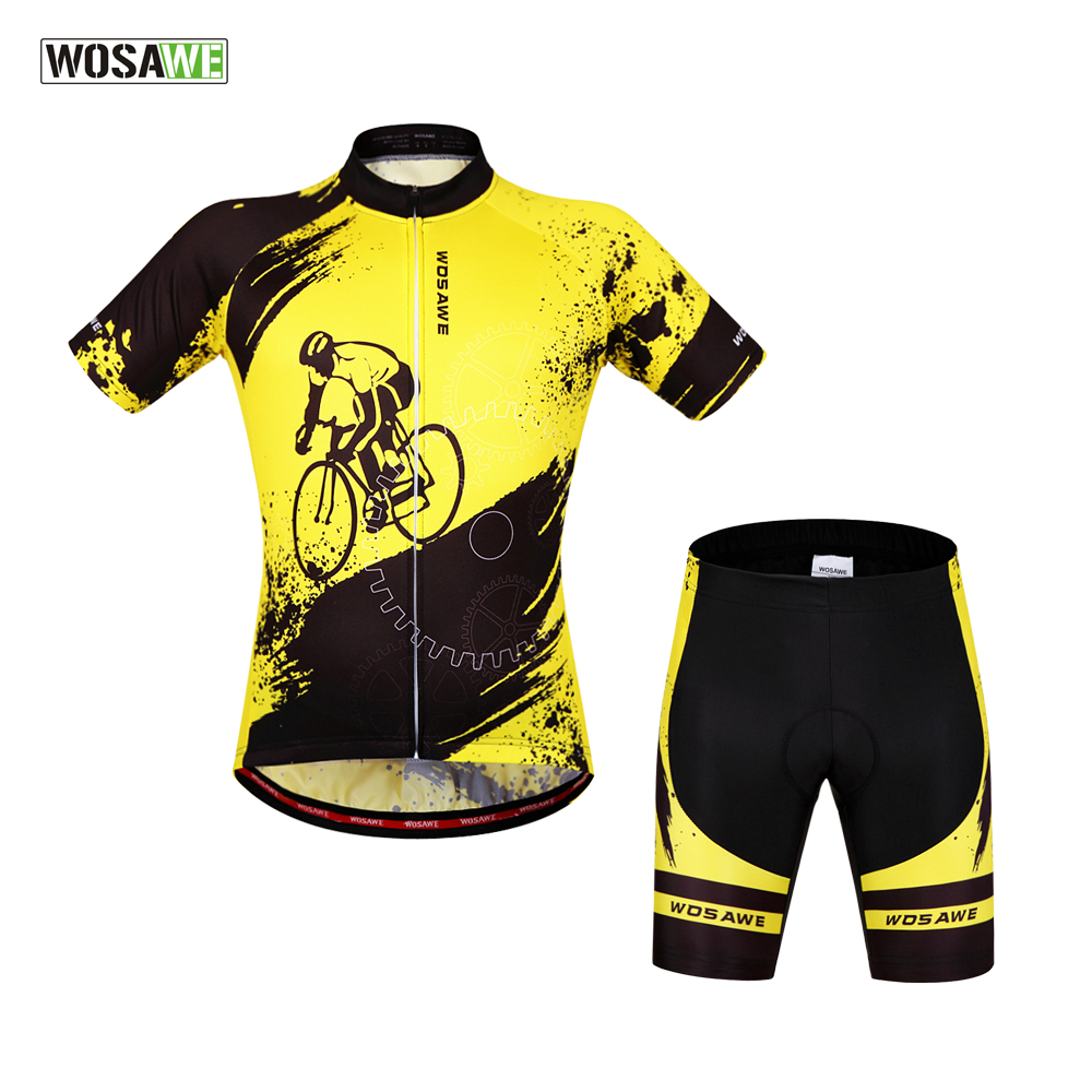 WOSAWE Summer Bicycle Cycling Clothing Short Sleeved Jerseys + 4D Gel Padded Shorts Set Breathable MTB Road Bike Sportswear Suit|bike sportswear|bike suit|bike shorts set - title=