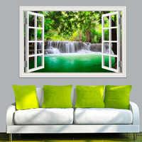 3D Window View Wall Sticker Decal Sticker Home Decor Living Room Nature Landscape Decal Waterfall Mural Wallpaper Wall Art