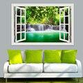 3d janela vista adesivo de parede decalque adesivo decoração da sua casa sala estar natureza paisagem decalque cachoeira mural papel arte