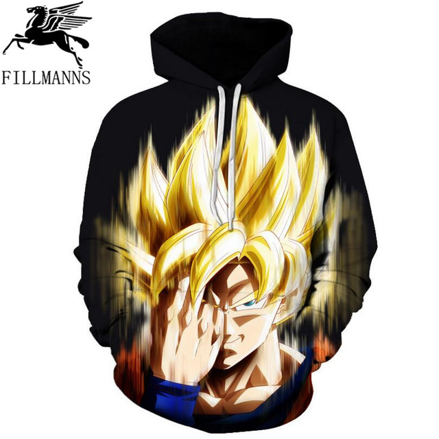 FILLMANNS Hooded Sweatshirts men 3D Super Saiyan Hero Vegeta Hoodies Pullovers Anime Dragon Ball Z Pocket Men/Women hoodies