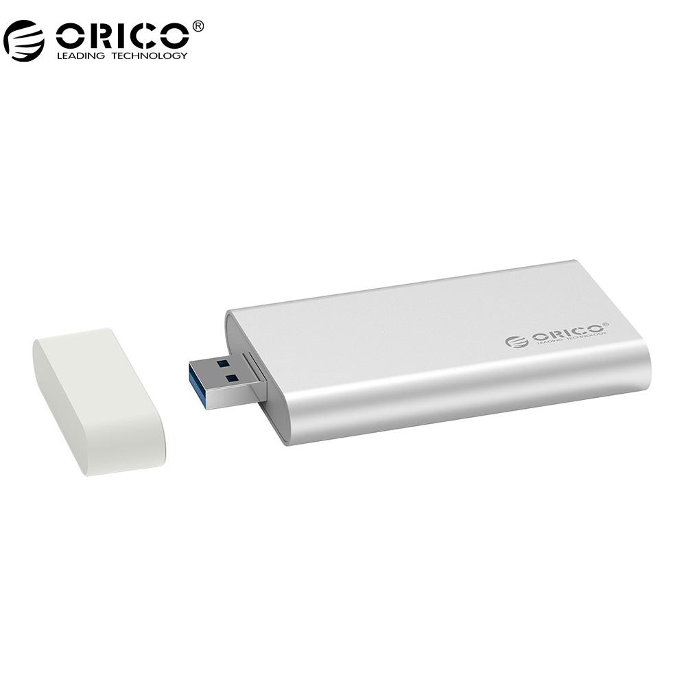 ORICO Aluminum Mini mSATA SSD Enclosure USB3.0 5Gbps High-speed Screw Fixing for Windows/Linux/Mac -Silver orico mini msata ssd enclosure aluminum 5gbps high speed hdd case for laptop desktop for windows linux mac with screw fixing