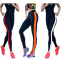 2016 Cotton Striped Leggings bodybuilding side nine points Slim color stitching breathable absorbent Pants feet