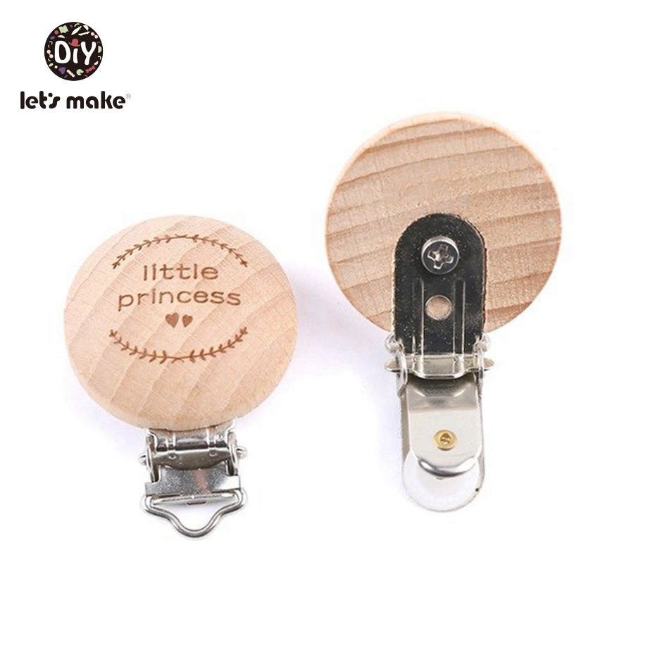 Let's Make Pacifier Clip 50pc Round Wooden Engrave Customizable Personalise Baby Wooden Dummy Clip Neutral Gift Charms Beads