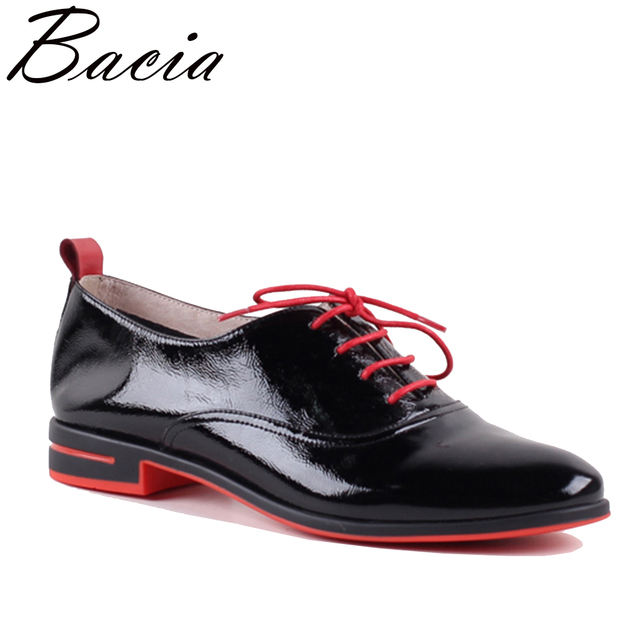 Bacia Genuine leather flat shoes women Color matching Lace Up Patent leather shoes Classic leather shoes Drop Shipping SB074