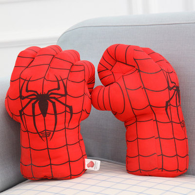 SuperHero <font><b>SpiderMan</b></font> Hands <font><b>Plush</b></font> <font><b>Gloves</b></font> Set Punching Boxing Type Fist One Pair