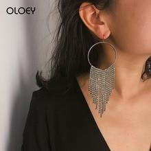 все цены на OLOEY Simple Crystals Drop Earrings Fashion Geometric Long Tassel Earring Female Round Crystals Ladies Jewelry Accessories онлайн