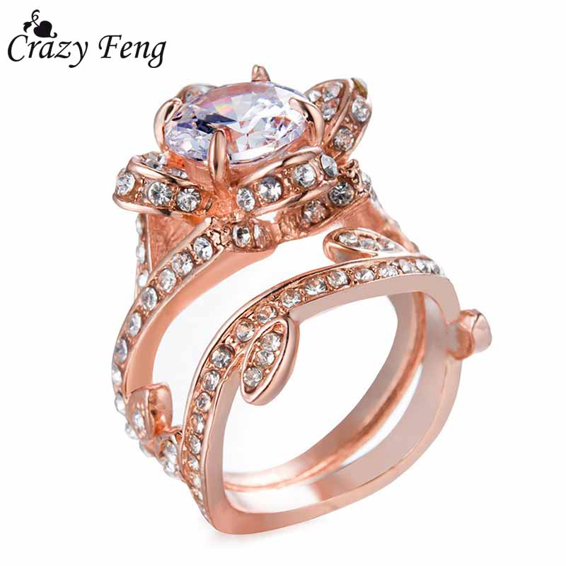 Women Fashion Crystal Ring Rose Gold / Silver Color Rings Engagement Jewelry Female Accessories Rhinestone Flowers Wedding Ring