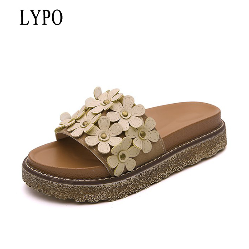 LYPO Flat slippers female summer 2018 new wild Korean comfortable fashion flowers flip flops student slippers women shoes free shipping  metal garage door open
