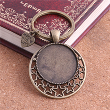 PULCHRITUDE 5pcs/lot Metal Keychain Round Cabochon Setting DIY Vintage Handmade Key Chains for Jewelry Making Y1001