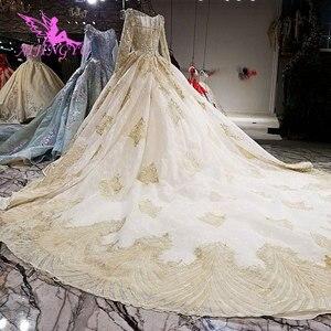 Image 5 - AIJINGYU robe de mariée blanche brillant Satin robes Train combinaison indienne Tulle en ligne Designer bouffante dentelle robe robes de mariée en