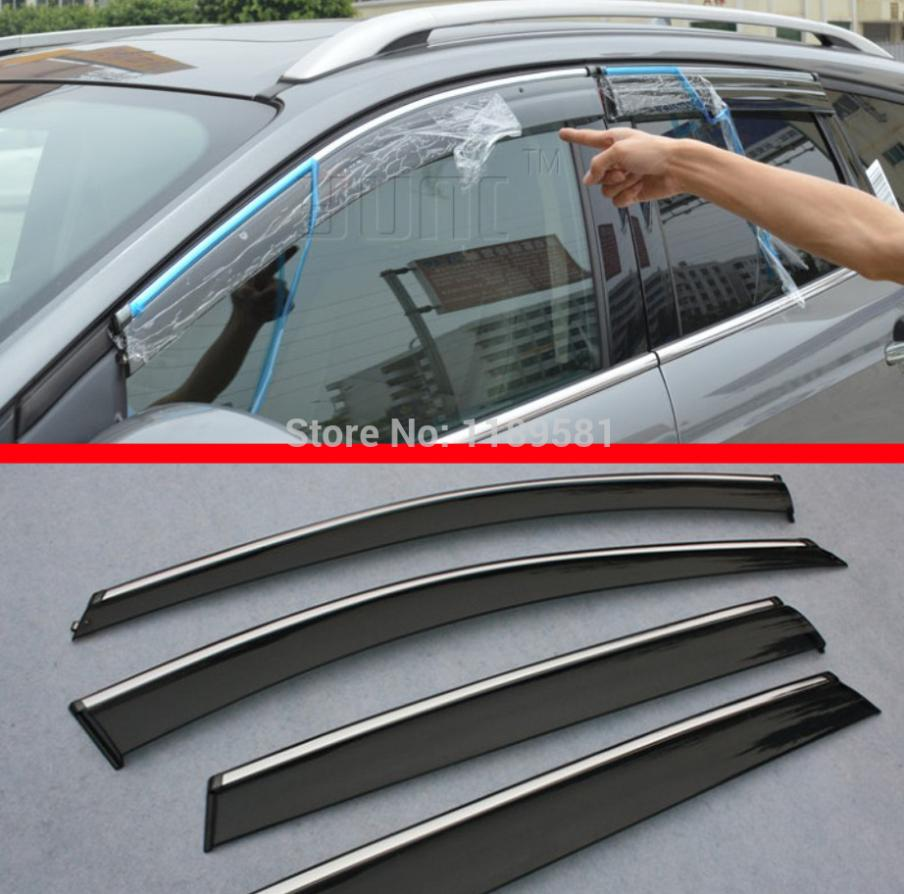 For Kia Optima 2010-2015 Window Visor Sun Guard Outside Mount Light Grey 4pcs