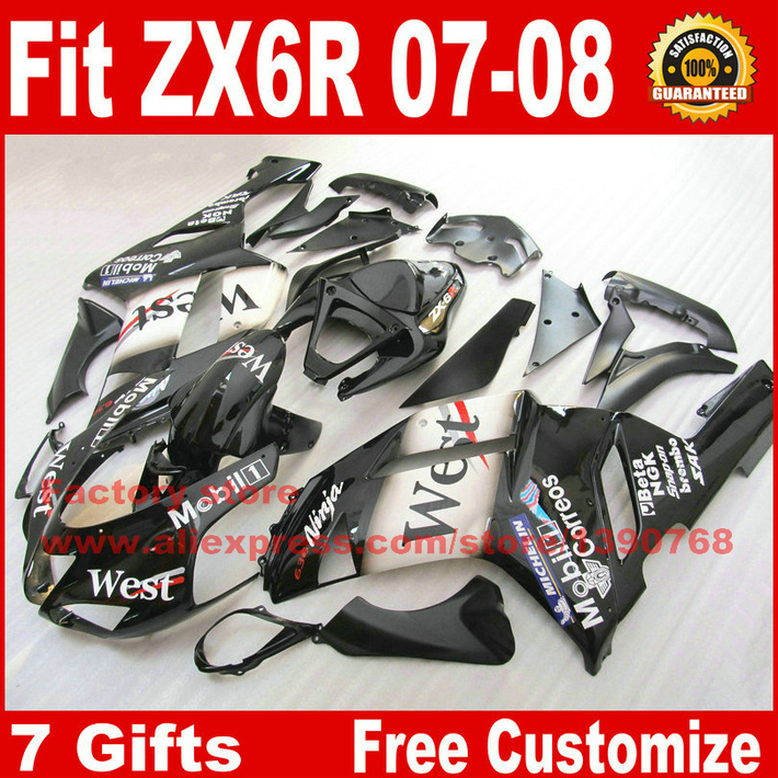 Plastic fairings set for Kawasaki  ZX6R 2007 2008  07 08 white black West fairing kits NS6 +7 gifts motorcycle fairing kit for kawasaki ninja zx10r 2006 2007 zx10r 06 07 zx 10r 06 07 west white black fairings set 7 gifts kd01