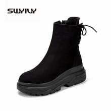 Botas de tornozelo swyivy mulheres 2019 inverno botas pretas mulher sapatos casuais plataforma de pelúcia botas de neve sapatos femininos martin sapatilhas femininas