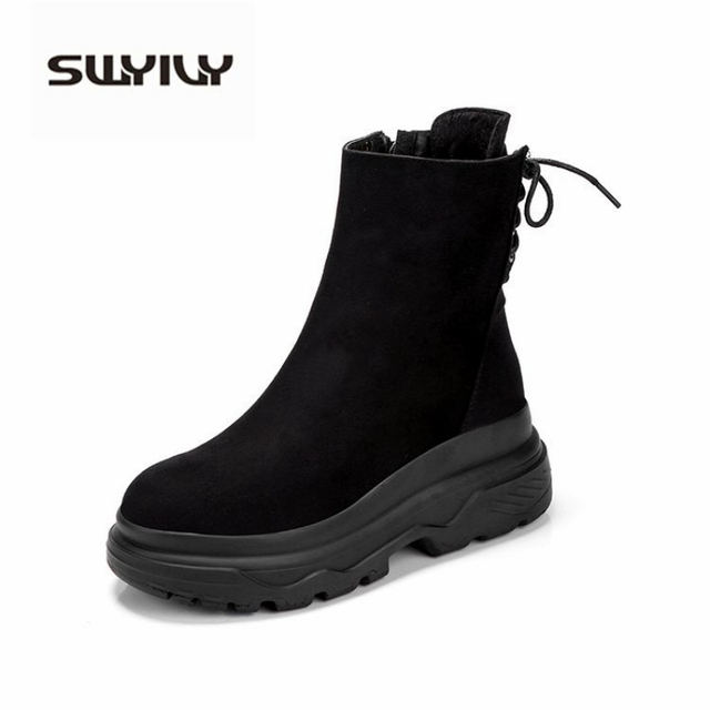 SWYIVY Ankle Boots Women 2019 Winter Black Boots Woman Casual Shoes Plush Platform Snow Boots Women Martin Shoes Female Sneakers