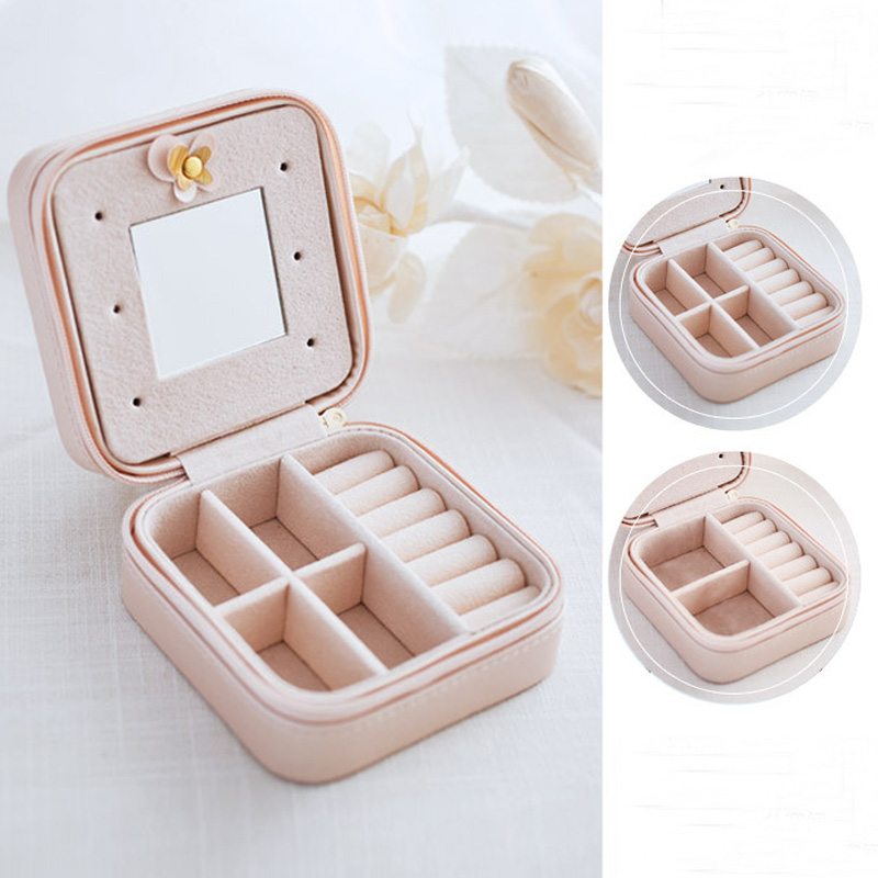 SAFEBET Brand Womens Earrings Jewelry box Makeup Mirror Ladies Necklace Ring Makeup Box Travel Cosmetic Bag Accessories Supplie