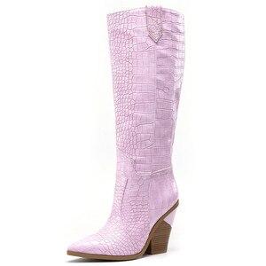 Image 2 - MORAZORA botas para mujer de tacón alto grueso hasta la rodilla punta estrecha, botas de invierno doradas, alta calidad, hasta la rodilla, 2020