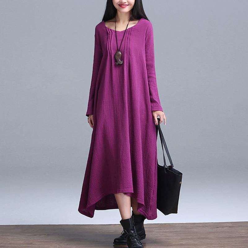 b01a7b2ef2e4 Autumn Winter Women Dress Purple Black Cotton Linen Long Dress kimono Long  Sleeve Purple Long Robe Loose Vintage Dress Robe