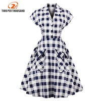 S 4XL Plus Size Women Robe PinUp Dress Retro Vintage 50s Rockabilly Plaid Pockets Summer Female