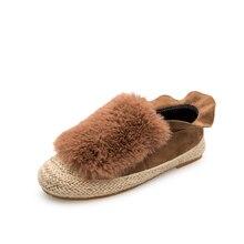 HEE GRAND 2017 Winter Ruffles Loafers Weave Straw Ballet Flats Fashion Fisherman Shoes Women Shoes
