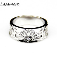 LASAMERO Zelda Triforce 0.1CT Round Cut Simulated Diamond Wedding Band for Men Video Game Ring Band for Geeks