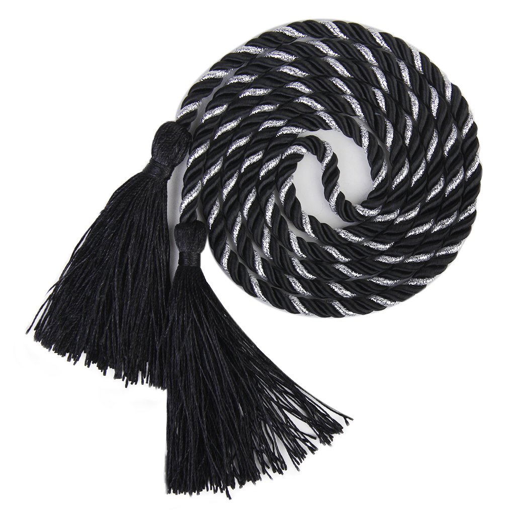 1 Pair of Curtain Tiebacks Tie Backs Tassel Rope Living Room Bedroom Decoration 135CM (Black + Silver)