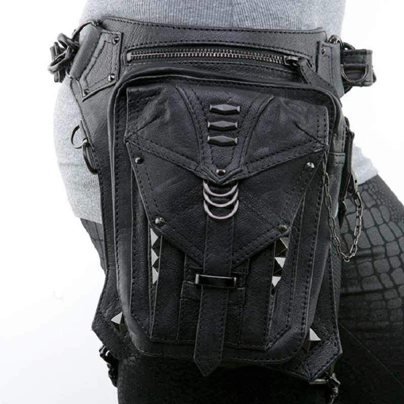 黒革スチームパンク脚太ももヒップホルスター財布財布ポーチミニウエストパック/メッセンジャーバッグ (色: 黒)