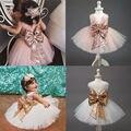 Мода Блесток Цветок Платье Девушки День Рождения свадьба принцессы малышей Девушки Одежда Дети Дети Девочки Платья