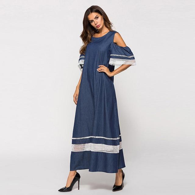 Women Fashion High Waist Plus Szie Muslim Splice Long Sleeve Dress Islam Jilbab Elegant Design Maxi Dresses Clothes z0415 4