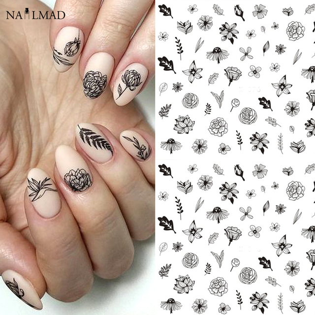1 sheet Line Rose Water Decals Embossed Another Flower Nail Stickers Blooming Flower Nail Art Stickers Decals
