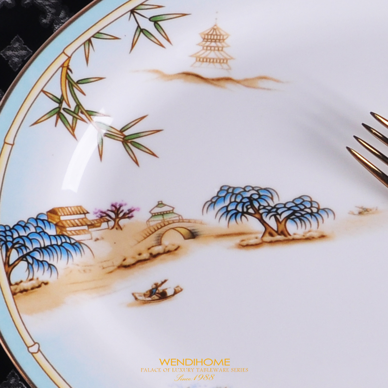 Chinese Style Luxury Porcelain Dinner Plates Creative Ceramic West Lake Hotel Tableware Cutlery Set Decorative Flat Steak Plate in Dishes Plates from Home Garden