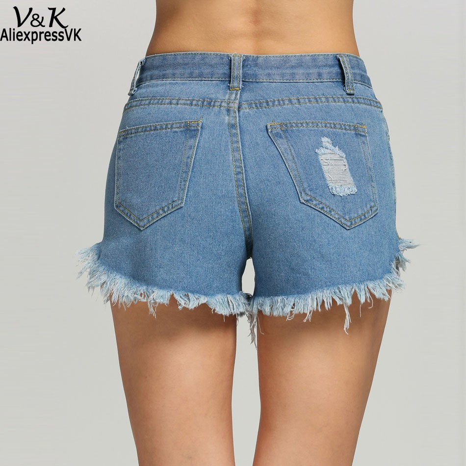Plus Size Summer Woman Sexy Hot Denim Shorts Girl's Fashion Casual Tassel Ripped Hole Mid Waisted Short Jeans U2