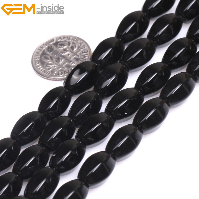 Gem-inside Natural Olivary Rice Black Agates Stone Beads For Jewelry Making 15inches DIY Christmas Valentine Gift Jewellery