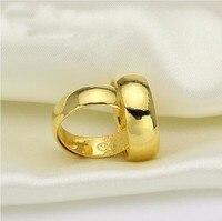 Горячая продажа пара чистого 999 твердого 24 K кольцо из желтого золота Мужская гладкая Свадебная лента