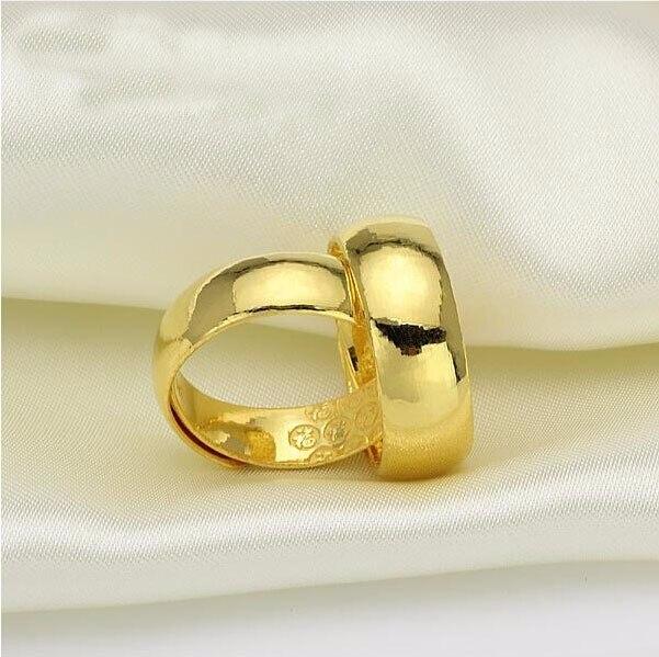 Offre spéciale une paire de Pure 999 solide 24 K or jaune bague hommes lisse bande de mariage